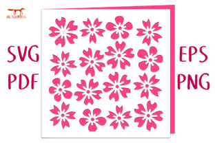 Cherry Blossom Card SVG Cut File Graphic 3D SVG By Nic Squirrell