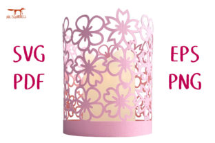 Cherry Blossom Spring Lantern SVG Cut Graphic 3D SVG By Nic Squirrell 1