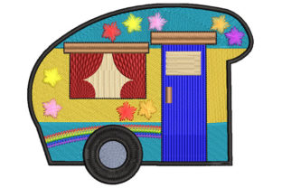 Print on Demand: Hippie Van with Flowers Travel & Season Embroidery Design By Dizzy Embroidery Designs