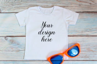 Kids T-shirt Mockup with Sunglasses. Graphic Product Mockups By OK-Design