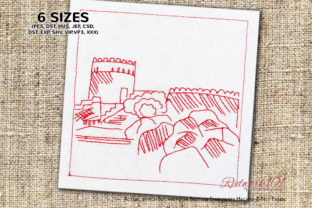 Nakhal Fort in Oman Vacation Embroidery Design By Redwork101