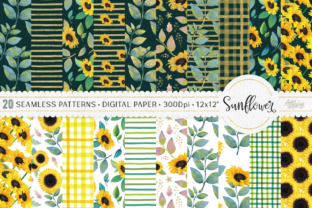 Print on Demand: Sunflower Digital Paper | Pattern Graphic Patterns By Ayca Atalay