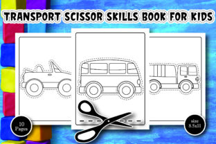 Transport Scissor Skills Book for Kids Graphic Coloring Pages & Books Kids By Alpha Coloring