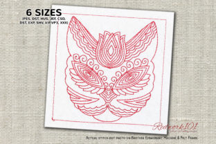 Zentangle Stylized Cat Zentangle Embroidery Design By Redwork101