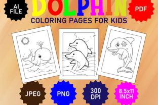 Dolphin & Shark Coloring Book Interior Graphic Coloring Pages & Books Kids By Sporsho_Creations