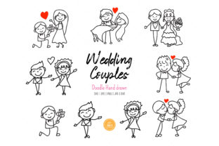 Print on Demand: Hand Drawn Doodle Wedding Couple SVG Graphic Illustrations By AN8DesignHappiness