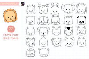 Print on Demand: Procreate Brush Stamp Cute Animal Face Graphic Brushes By iJStudio