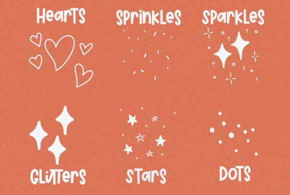 six sprinkle brush stamps
