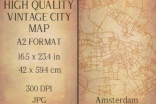 Print on Demand: Vintage Map Amsterdam Netherlands Graphic Photos By Mappingz