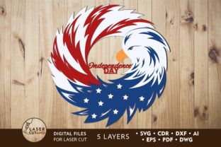 Print on Demand: 4th of JULY Multilayer Laser Cut Files Graphic 3D SVG By LaserCutano