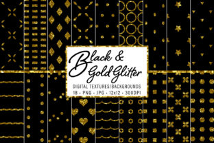 Print on Demand: Black and Gold Glitter Patterns Graphic Patterns By JulieCampbellDesigns
