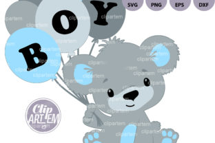 Print on Demand: Boy Baby Bear with Balloons SVG Clip Art Graphic Illustrations By clipArtem