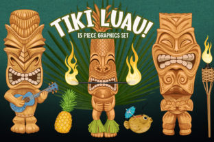 Tiki Totem Luau Party Clip Art Set Graphic Illustrations By Dapper Dudell