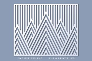 Wall Art , Geometric Mountains Svg Graphic 3D SVG By 2dooart