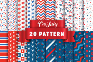 Print on Demand: 4th of July Digital Paper Patterns Graphic Patterns By nesdigiart
