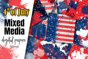 4th of July Mixed Media Digital Papers Graphic Backgrounds By Hippogifts