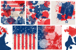 4th of July Mixed Media Digital Papers Graphic Backgrounds By Hippogifts 2