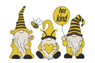 Print on Demand: Bee Kind Gnomes Bugs & Insects Embroidery Design By ArtEMByNatali