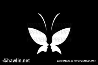 Face of Lady and Butterfly Logo Concept Graphic Illustrations By shawlin