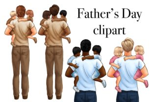 Father and Child Clipart, Father' Day Graphic Illustrations By Arte de Catrin