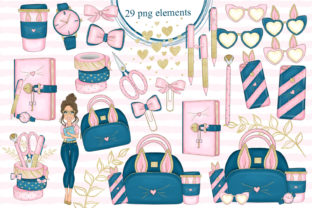 Print on Demand: Girl Boss Clipart - Planner Fashion Png Graphic Illustrations By LerVik 2