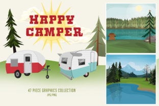 Happy Camper Graphics Collection Graphic Illustrations By Dapper Dudell