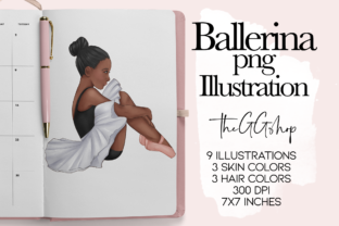 Print on Demand: Little Girls Ballerina Png Set Graphic Illustrations By TheGGShop