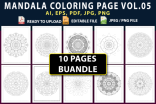 MANDALA COLORING PAGES BUNDLE VOL.05 Graphic Coloring Pages & Books By triggeredit