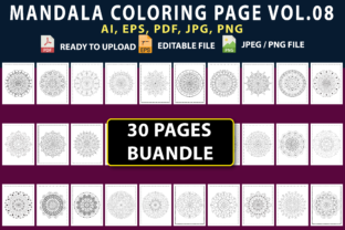 MANDALA COLORING PAGES BUNDLE VOL.08 Graphic Coloring Pages & Books By triggeredit
