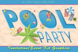Pool Party Invitation Graphics Kit Graphic Illustrations By Dapper Dudell