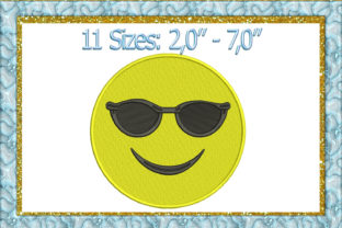 Print on Demand: Sunglasses Emoji Toys & Games Embroidery Design By larisaetsy