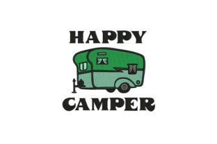 Travel Trailer Camper Camping & Fishing Embroidery Design By DigitEMB
