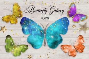Print on Demand: Butterfly Galaxy Clipart Graphic Illustrations By PinkPearly