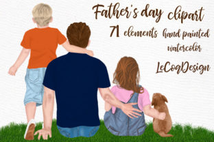 Print on Demand: Father and Children Fathers Day Clipart Graphic Illustrations By LeCoqDesign 1