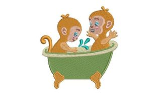 Little Monkeys Bath Bed & Bath Embroidery Design By Embroidery Designs