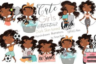 Planner African American Girl Activities Graphic Icons By Tanya Kart