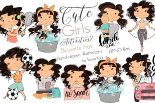 Planner Girls Icons Brunette Hair Graphic Icons By Tanya Kart