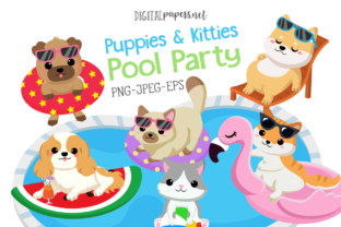 Print on Demand: Puppies and Kitties Pool Party Graphic Illustrations By DigitalPapers