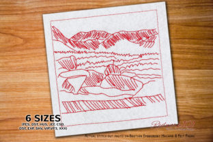 Stone and Mountains Vacation Embroidery Design By Redwork101