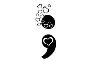 Semicolon with Hearts Awareness Craft Cut File By Creative Fabrica Crafts