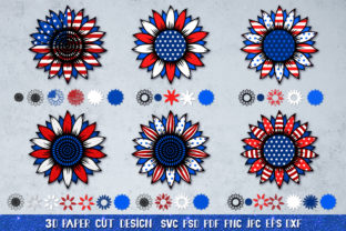 3D Sunflower 4of July Bundle Graphic 3D SVG By goodfox86