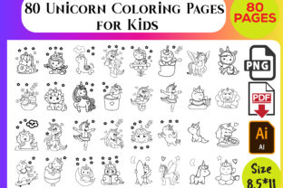 80 Unicorn Coloring Pages for Kids Graphic KDP Interiors By My shop