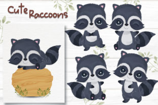 Print on Demand: Adorable Little Raccoons Clipart Set Graphic Illustrations By DrawStudio1988