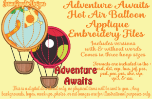 Print on Demand: Adventure Awaits Hot Air Balloon Travel Quotes Embroidery Design By JessasGraphicDesgins