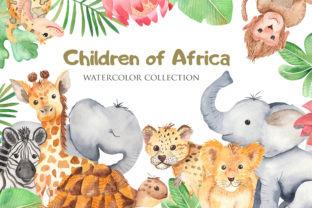 African Animals and Plants Watercolor Graphic Objects By Marina Ermakova