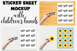 Child Hand Sticker Sheet Mockup. Graphic Product Mockups By OK-Design