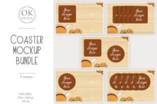 Coaster Mockup Bundle. Square and Round Graphic Product Mockups By OK-Design