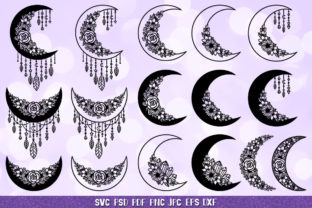 Crescent Moon, Moon Dreamcatcher, Boho Graphic Crafts By goodfox86