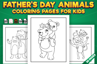 Print on Demand: Father's Day Animals Coloring Pages Graphic Coloring Pages & Books Kids By Kristy Coloring