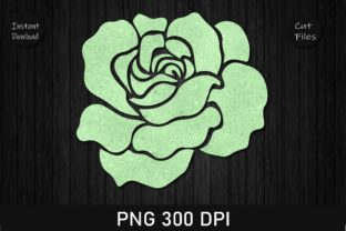 Print on Demand: Green Glitter Rose Clipart Graphic Crafts By Rizu Designs